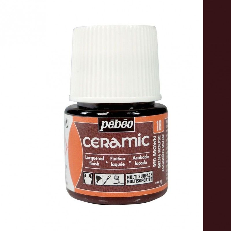 PINTURA CERAMIC PEBEO MARRÓN ROJO 45 ML