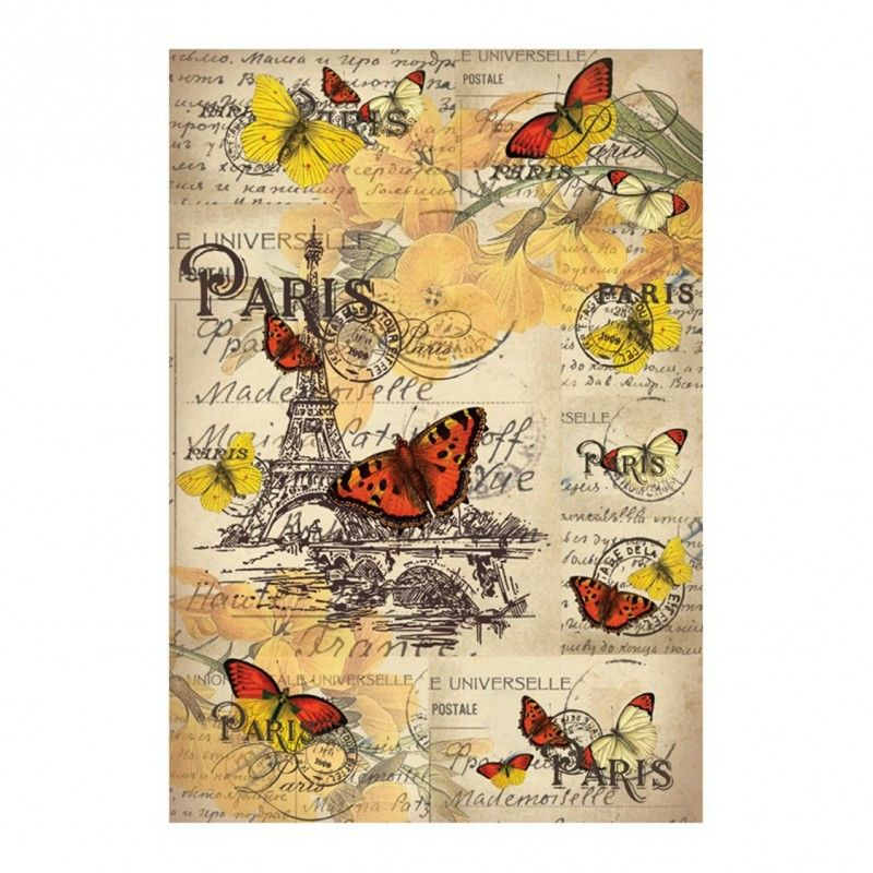 PAPEL DE ARROZ MARIPOSAS EN PARIS 30x41 CM